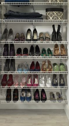Clothes And Shoes Organizers . Not my favourite kind of shelving but the perk of it is you can always add more.