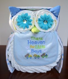 ***Please specify your event date in the Notes section at checkout. If you decide to order, please make sure to check your Etsy messages as I will send bib and blanket options along as well as a final photo for your approval. Thank you!*** **Visit my shop page for Ready to Ship diaper owls in several designs!** This adorable owl makes a great baby shower gift or the perfect addition to baby shower decor! It measures approximately 15 tall and 10 wide and all items are completely usable when…