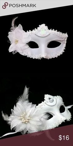 Buy now! Halloween All white masquerade mask Brand new all white w rhinestone decoration n feathers beautiful easy to wear its a hard mask w handmade decor ready new in package!   ????Buy now in time for Halloween boutique Accessories