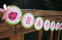 Sweet Little Ladybug Banner - Pink & Green