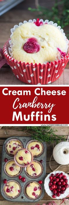 Cream Cheese Cranberry Muffins – Soft fruity cream cheese muffins made with fresh cranberries. Perfect for breakfast, brunch for Christmas and the holidays. SO DELISH! white christmas,breakfast and brunch Brownie Desserts, Oreo Dessert, Mini Desserts, Coconut Dessert, Just Desserts, Delicious Desserts, Dessert Recipes, Cranberry Muffins, Cranberry Cheese