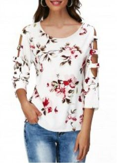 Flower Print Round Neck Cutout Sleeve T Shirt on sale only US$28.27 now, buy cheap Flower Print Round Neck Cutout Sleeve T Shirt at liligal.com