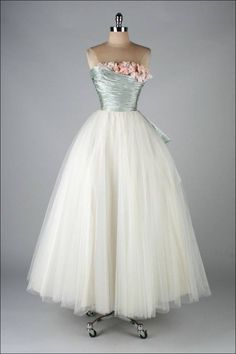 GORGEOUS!!! Ceil Chapman dress of the 1950s. Powder blue silk satin over white tulle skirt, strapless bodice with flower trimming.