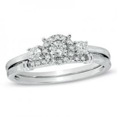 Diamond Three Stone Bridal Set in 14K White Gold