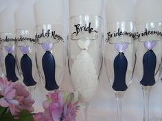 Champage Flutes Hand Painted Personalized by samdesigns22 on Etsy