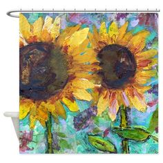 Sunflower Friends Bathroom Shower Curtain