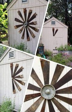 Garden graphic with recycled tools. The center is a chicken feeder bottom