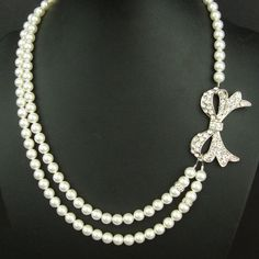 Vintage Style Bridal Jewelry, Silver Bow Bridal Necklace, Ivory Pearl Wedding Jewelry, Retro Wedding Jewelry, LOLA
