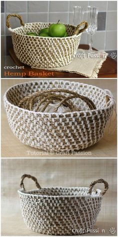 I am going to show you some #crochet #basket patterns which will increase your home décor!Hemp Basket Crochet Pattern