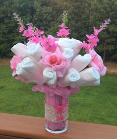 Diaper Rose & Larkspur bouquet in a lace corset vase - Perfect as a gift or centerpiece at a Baby Shower. Customizable - perfect for office showers & gifts
