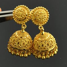 """Solid Yellow Gold Post Earrings With Backs PAIR - """"Indian jewelry just love them. Jhumka Designs, Gold Earrings Designs, Gold Jewellery Design, Necklace Designs, Gold Jewelry, Fine Jewelry, Jewellery Box, Glass Jewelry, Jewelry Making"""