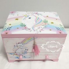 Madera Painted Toy Chest, Diy Furniture Making, Unicorn Jewelry, Decoupage Box, Altered Boxes, Flower Fairies, Diy Box, Easy Diy Crafts, Toy Boxes