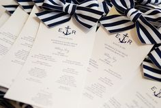 (different bows, but love the type and the anchor instead of the and. @Anne Harrington Carter) Nautical Wedding Programs | Leo DJ Photography