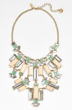 Gorgeous! Kate Spade necklace with mint stone gems mixed with light wood tiles.