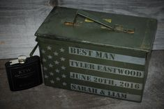 5 Ammo Boxes and 5 Flasks Giftset 4 Men Personalized Laser
