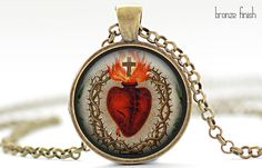 Sacred Heart of Jesus Necklace Your Choice of by FrenchHoney, $14.50