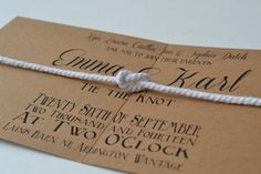 NEW DESIGN...Tie the Knot folded Wedding Invite & rsvp