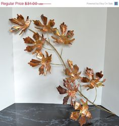 Mothers Day Special Copper / Brass Twig with Leaves Wall Decor Mothers Day Special, Copper, Brass, Kitchen Wall Art, Wall Decor, Leaves, Unique Jewelry, Handmade Gifts, Flowers
