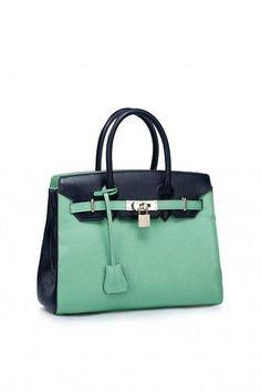 8270ab8a9e345 top handle bags  Nucelle Contrast Color Women s Leather Top Handle Handbags  Padlock Office Tote Handbag Top Zipper School Bag Purse Satchel (Ink Blue  and ...