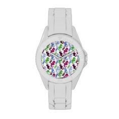 Seahorses Pattern Nautical Beach Theme Gifts Watches