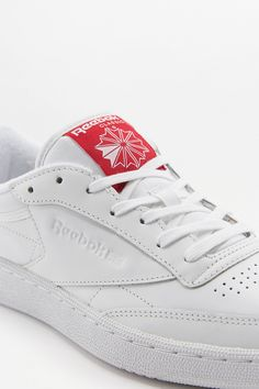 7e722ac71d7 Reebok Club C 85 White and Red Leather Trainers