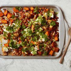 Harissa Roasted Vegetables and Chickpeas with Tahini Yogurt