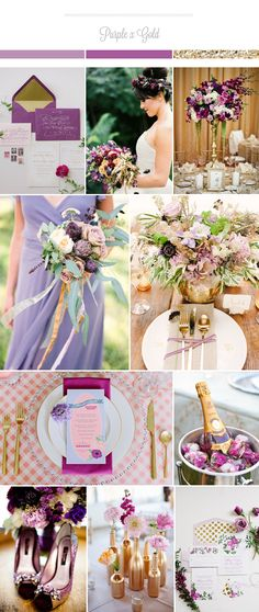 Purple and gold creates a rich color palette for glamorous Fall weddings. You can go with the traditional purple or a lighter lavender / lilac tone, and pair it with a touch of gold to create that classic, elegant atmosphere. Make sure you incorporate some base colors such as white or cream to balance out …
