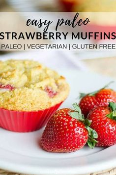 These paleo strawberry muffins are easy to pull together for a quick breakfast or an afternoon snack. Perfect for fresh summer strawberries! A healthy recipe that's gluten-free, grain-free, with a dairy-free option! Gluten Free Grains, Gluten Free Muffins, Dairy Free, Grain Free, Healthy Afternoon Snacks, Yummy Snacks, Healthy Snacks, Healthy Breakfasts, Yummy Food