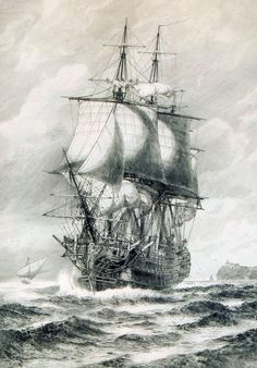 """Santisima Trinidad"", etching by Jacob Hägg, Boat Drawing, Ship Drawing, Sailboat Art, Nautical Art, Tattoo Barco, Bateau Pirate, Old Sailing Ships, Ship Paintings, Vintage Boats"