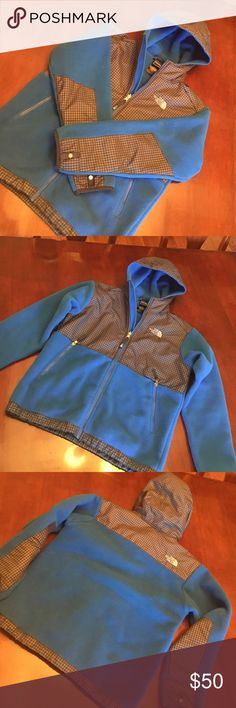The North Face blue and navy fleece hooded jacket The North Face blue and navy fleece hooded jacket. EUC. Worn maybe 3 times. No signs of wear. Boys large 14/16. North Face Jackets & Coats