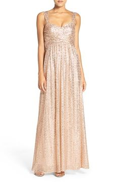 Amsale 'Loire' Sweetheart Neck Sequin Gown - Rosegold