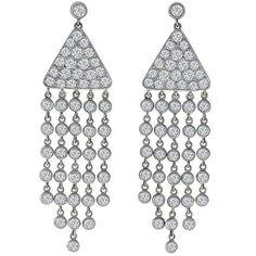 Diamond 18k white gold chandelier earrings estate earrings estate 500ct round cut diamond 18k white gold chandelier earrings aloadofball Images