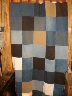 denim curtain. What I had in mind for couch slip cover with carhartts, denim, tweed.
