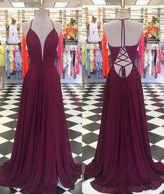 9f62d2c7f2d Simple V Neck Chiffon Backless Long Prom Dress