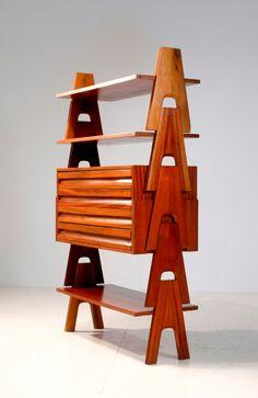 Angelo Mangiarotti & Bruno Morassutti; Mahogany Stack Shelving System, c1955.
