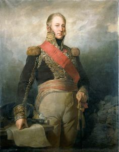 """""""Adolphe-Edouard Mortier, duc de Trévise, maréchal de France"""" (E-L. Dubufe, 1844, oil on canvas). In the Musée de l'Armée, Paris. Mortier, Duke of Treviso, one of Napoléon I's most devoted adherents, played a distinguished part in the wars. Missed Waterloo due to illness. Later Prime Minister of France. Killed by terrorists during an unsuccessful attempt on the life of King Louis-Philippe (1835). Not perhaps a great intellect: French Army wags would joke that a """"big Mortier has a short…"""