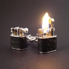 LEATHER Working Lighter Cufflinks by YOUgNeek on Etsy, $99.99