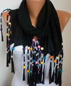 Bead Scarf  Shawl Scaf   Black  fatwoman by anils on Etsy, $18.00