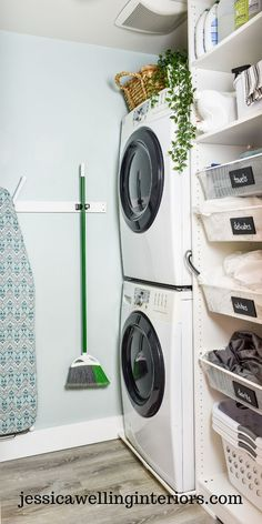 This small laundry room design uses every inch of space to make a dream washroom! It's got a stackable washer and dryer, a brilliant Ikea hack, storage for cleaning supplies, and much more! Washer Dryer Laundry Room, Ikea Laundry, Laundry, Laundry Basket Storage, Wardrobe Organisation, Ikea Hack, Ikea Pax Wardrobe, Small Laundry Room Makeover, Room Makeover