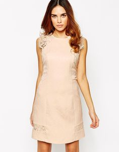 Warehouse Lace Sleeve Jaquard Dress