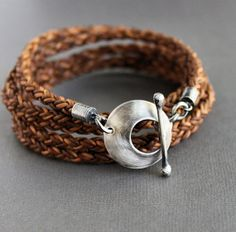 Light Brown Leather Silver Wrap Bracelet Round by LynnToddDesigns, $92.00
