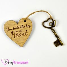 "Personalised ""You are the Key to my Heart"" Valentines Day Gift Present - Pretty Personalised"