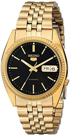 Seiko Men's SNXZ16 Automatic Gold Tone Bracelet Watch >>> Want to know more, click on the image.