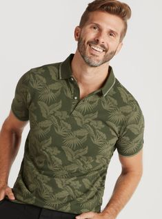 Shop Sustainable Floral Print Polo T-shirt with Short Sleeves Online | Splash UAE