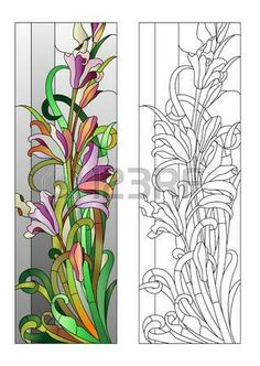 Illustration about Stained glass window with purple floral pattern. Illustration of decorative, ornament, colorful - 65200334 Glass Painting Patterns, Stained Glass Patterns Free, Glass Painting Designs, Stained Glass Designs, Stained Glass Paint, Stained Glass Flowers, Stained Glass Crafts, Stained Glass Panels, Mosaic Art