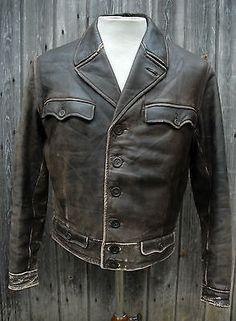 Vtg-30s-40s-Short-Brown-Leather-Button-Up-Jacket-Horse-Hide-Work-Wear-38