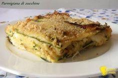 Parmigiana di zucchine in bianco (ricetta vegetariana) - sformato di zucchine grigliate alla parmigiana grigliate con scamorza e uova senza pomodoro