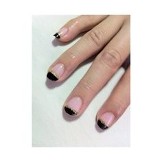 Black French Tip with Gold Glitter Nail Art Gallery ❤ liked on Polyvore featuring nails