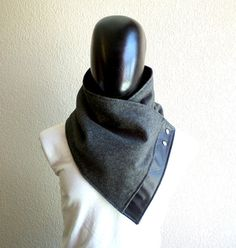 Men scarf. Men cowl,Wide, Dark grey wool with faux black leather and metalic snaps . Trendy, modern, chunky  and cozy.