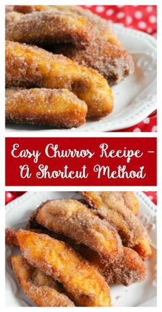 This easy churros recipe is super simple to make starting with a can of biscuit dough for a shortcut method. They're perfect for dessert a snack or breakfast. So delicious!! #churros  via @ThriftyJinxy